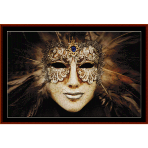 luxurious silver mask - fantasy cross stitch pattern by cross stitch collectibles