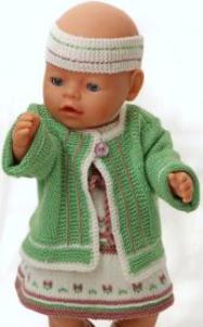 DollKnittingPatterns 0147D SOPHIA - Robe, Veste, Culotte, Chaussettes et Tour de Tête-(Francais) | Crafting | Knitting | Other