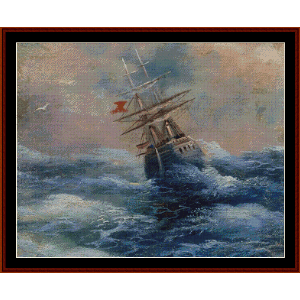 Ship on the Sea - Aivazovsky cross stitch pattern by Cross Stitch Collectibles | Crafting | Cross-Stitch | Wall Hangings