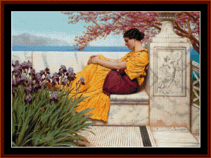 Under the Blossoms, 1917 - Godward cross stitch pattern by Cross Stitch Collectibles | Crafting | Cross-Stitch | Wall Hangings