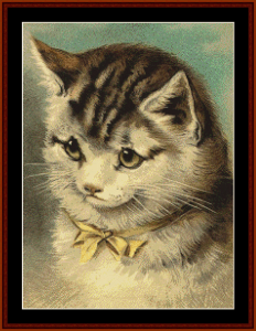Cat with Yellow Ribbon - Vintage art cross stitch pattern by Cross Stitch Collectibles | Crafting | Cross-Stitch | Animals