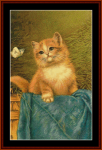 Cat with Butterfly - Vintage Art cross stitch pattern by Cross Stitch Collectibles | Crafting | Cross-Stitch | Animals