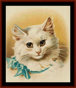 Cat with Blue Ribbon - Vintage Art cross stitch pattern by Cross Stitch Collectibles | Crafting | Cross-Stitch | Wall Hangings