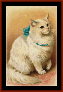 Cat with Blue Ribbon II - Vintage Art cross stitch pattern by Cross Stitch Collectibles | Crafting | Cross-Stitch | Animals