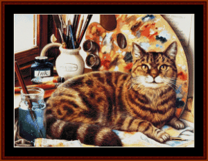 Artistic Cat - Vintage Art cross stitch pattern by Cross Stitch Collectibles | Crafting | Cross-Stitch | Animals