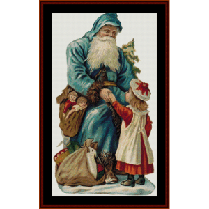 santa greeting girl - vintage art cross stitch pattern by cross stitch collectibles