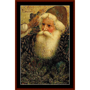 santa with branches - vintage art cross stitch pattern by cross stitch collectibles