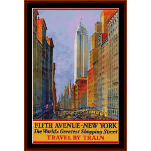 Fifth Avenue, NY - Vintage Poster cross stitch pattern by Cross Stitch Collectibles | Crafting | Cross-Stitch | Wall Hangings