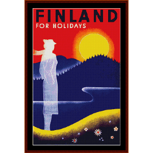 Finland for Holidays - Vintage Poster cross stitch pattern by Cross Stitch Collectibles | Crafting | Cross-Stitch | Wall Hangings