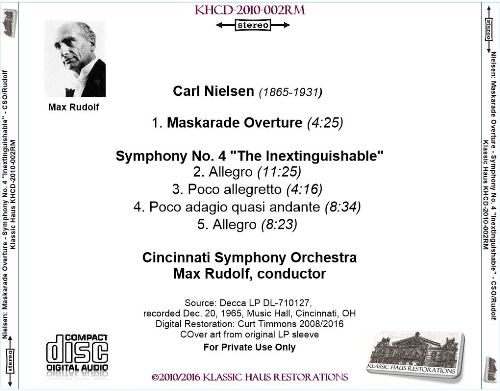 "First Additional product image for - Nielsen: Symphony No. 4 ""Inextinguishable""; Maskarade Overture - Cincinnati Symphony Orchestra/Max Rudolf"