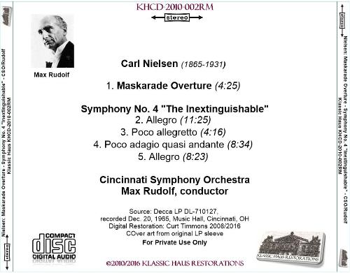 "First Additional product image for - Nielsen: Symphony No. 4 ""Inextinguishable""; Maskarade Overture - Cincinnati Symphony Orchestra/Max Rudolf"