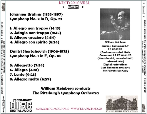 First Additional product image for - Brahms: Sym. No 2/Shostakovich: Sy. No. 1 - Pittsburgh Symphony Orchestra/William Steinberg