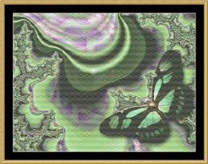 Green Butterfly | Crafting | Cross-Stitch | Wall Hangings