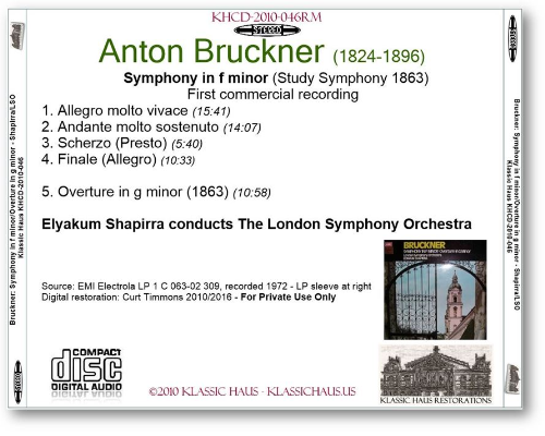 First Additional product image for - Bruckner: Symphony in F minor; Overture in G minor -LSO/Shapirra