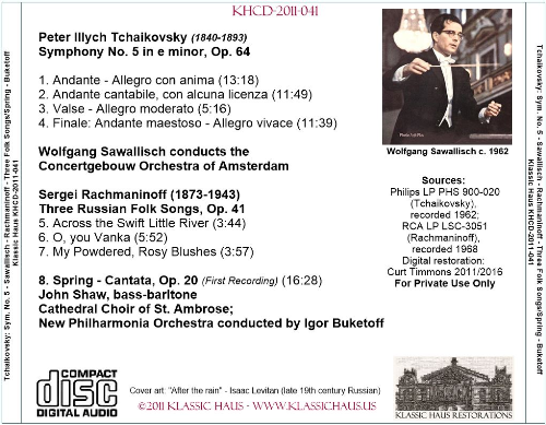 First Additional product image for - Tchaikovsky: Symphony No. 5-ACO/Sawallisch; Rachmaninoff Choral Works - NPO/Buketoff