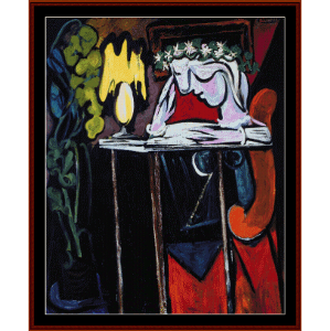 woman reading at table - picasso cross stitch pattern by cross stitch collectibles