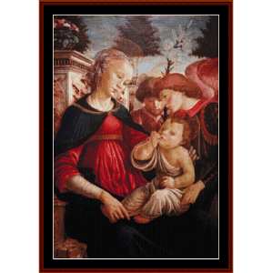 Virgin and Child w/Two Angels, 1469 - Botticelli cross stitch pattern by Cross Stitch Collectibles | Crafting | Cross-Stitch | Wall Hangings
