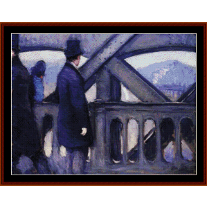 ponte de europe study - caillebotte cross stitch pattern by cross stitch collectibles