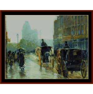 Horse Drawn Cabs, Evening, NY - Childe-Hassam cross stitch pattern by Cross Stitch Collectibles | Crafting | Cross-Stitch | Wall Hangings