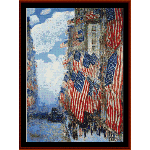 4th of July, 1916 - Childe-Hassam cross stitch pattern by Cross Stitch Collectibles | Crafting | Cross-Stitch | Wall Hangings