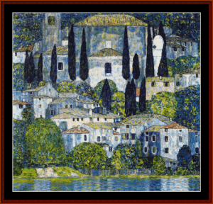 Church in Cassone - Klimt cross stitch pattern by Cross Stitch Collectibles | Crafting | Cross-Stitch | Wall Hangings
