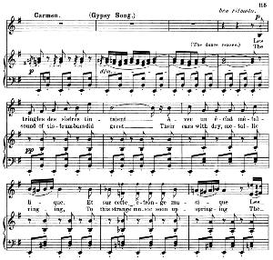 les tringles des sistres tintaient (gypsie song). aria for mezzo/soprano (carmen). g. bizet: carmen, act iii sc. 5. vocal score, a4. ed. schirmer. french/engl. pd.