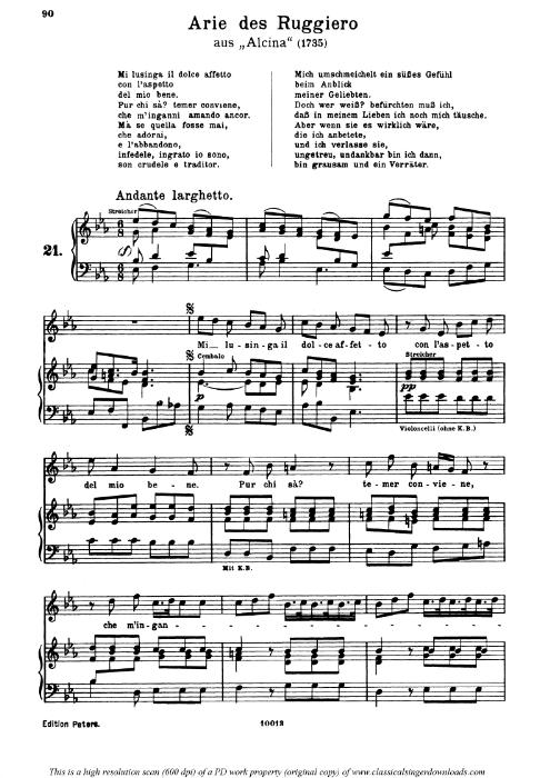 First Additional product image for - Mi lusinga il doce affetto: Aria (Ruggiero) in E-Flat Major (original key). G.F.Haendel. Alcina HWV 34, Vocal Score, Ed. Peters, Gesange für eine frauenstimme, Ed. H. Roth (1915). 4pp. Italian. Sheet Music (A4 portrait)