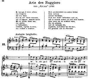 mi lusinga il doce affetto: aria (ruggiero) in e-flat major (original key). g.f.haendel. alcina hwv 34, vocal score, ed. peters, gesange für eine frauenstimme, ed. h. roth (1915). 4pp. italian. sheet music (a4 portrait)