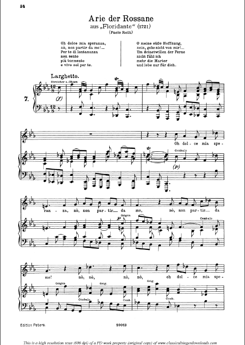 First Additional product image for - Oh dolce mia speranza: Aria (Rossane) in F minor (original key). G.F.Haendel. Floridante HWV 14, Vocal Score, Ed. Peters, Gesange für eine frauenstimme, Ed. H. Roth (1915). 4pp. Italian.(A4 portrait)