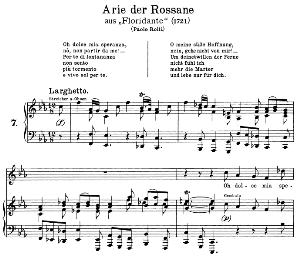 oh dolce mia speranza: aria (rossane) in f minor (original key). g.f.haendel. floridante hwv 14, vocal score, ed. peters, gesange für eine frauenstimme, ed. h. roth (1915). 4pp. italian.(a4 portrait)