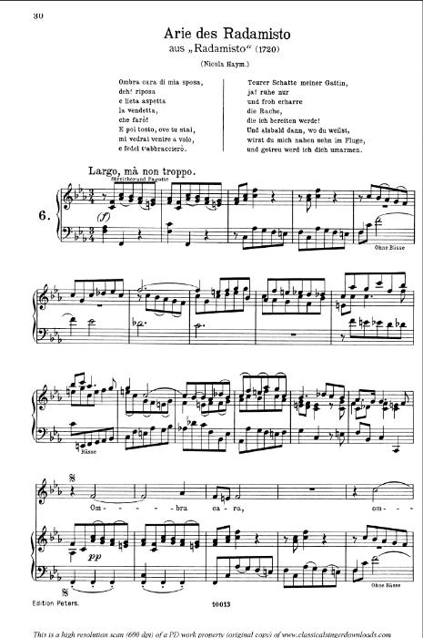 First Additional product image for - Ombra cara di mia sposa: Aria (Radamisto) in F minor (original key). G.F.Haendel. Radamisto HWV 12, Vocal Score, Ed. Peters, Gesange für eine frauenstimme, E.d. H. Roth (1915). 4pp. Italian.(A4 portrait)