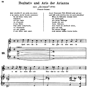 quel crudele pietà di me non sente: soprano aria (arianna) in a minor (original key). g.f.haendel. arianna hwv 32, vocal score, ed. peters, gesange für eine frauenstimme, ed. h. roth (1915). 5pp. italian. (a4 portrait)