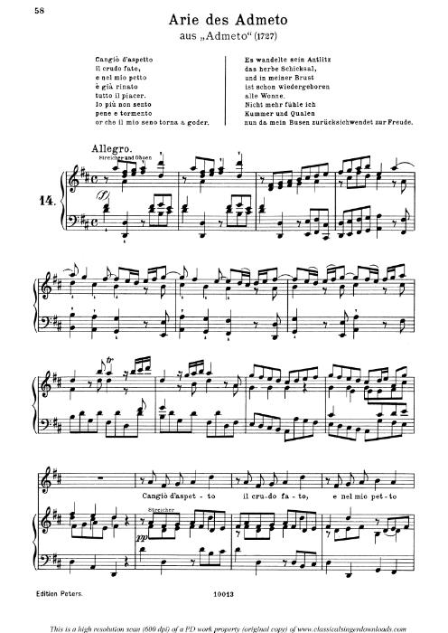 First Additional product image for - Cangiò d'aspetto: Contralto Aria (Admeto) in D Major (original key). G.F.Haendel.Admeto HWV 21, Vocal Score, Ed. Peters, Gesange für eine frauenstimme, Ed. H. Roth (1915). 4pp. Italian.(A4 portrait)