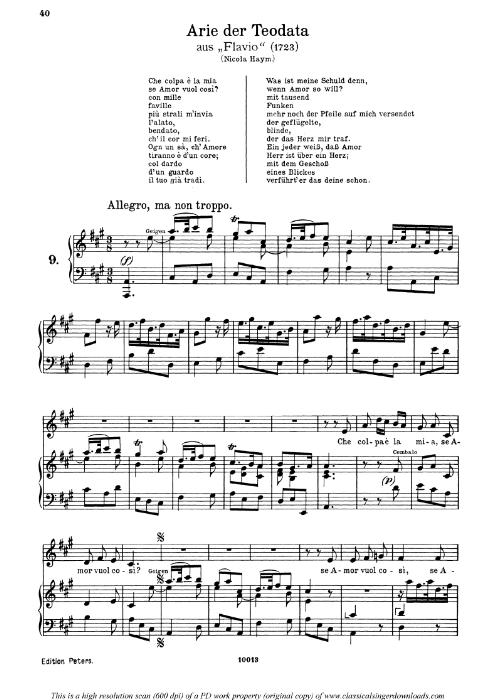 First Additional product image for - Che colpa e la mia: Contralto Aria (Teodata) in A Major (original key). G.F.Haendel. Flavio HWV 16, Vocal Score, Ed. Peters, Gesange für eine frauenstimme, Ed. by H. Roth (1915). 4pp. Italian.(A4 portrait)