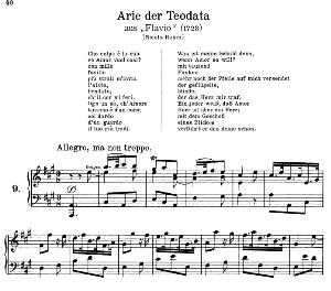 Che colpa e la mia: Contralto Aria (Teodata) in A Major (original key). G.F.Haendel. Flavio HWV 16, Vocal Score, Ed. Peters, Gesange für eine frauenstimme, Ed. by H. Roth (1915). 4pp. Italian.(A4 portrait) | eBooks | Sheet Music