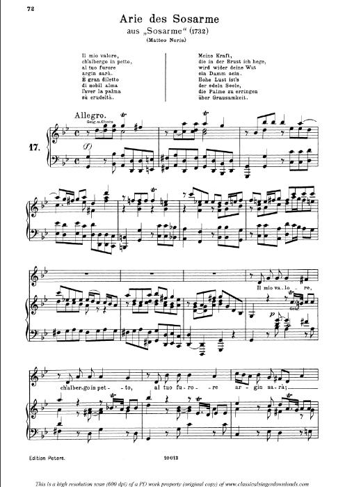 First Additional product image for - Il mio valore: Contralto Aria (Sosarme) in D Major (original key). G.F.Haendel. Alessandro HWV 24, Vocal Score, Ed. Peters, Gesange für eine frauenstimme, Ed. H. Roth (1915). 4pp. Italian. (A4 portrait).