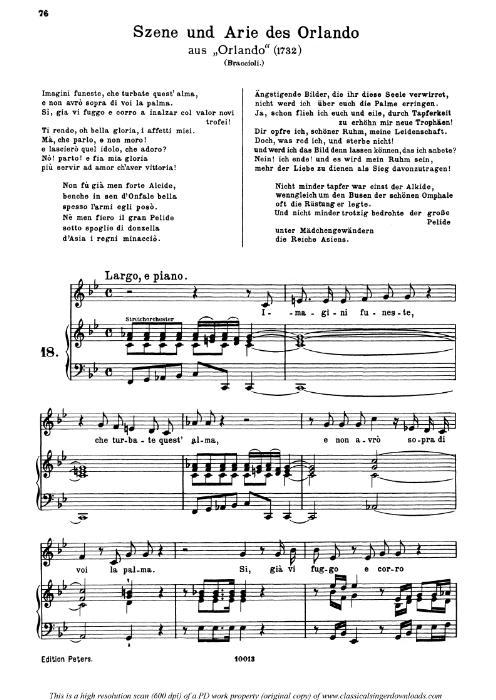 First Additional product image for - Imagini funeste: Contralto Aria (Orlando) in F Major (original key). G.F.Haendel. Orlando HWV 31, Vocal Score, Ed. Peters, Gesange für eine frauenstimme, Ed. H. Roth (1915). 6pp. Italian. (A4 portrait)