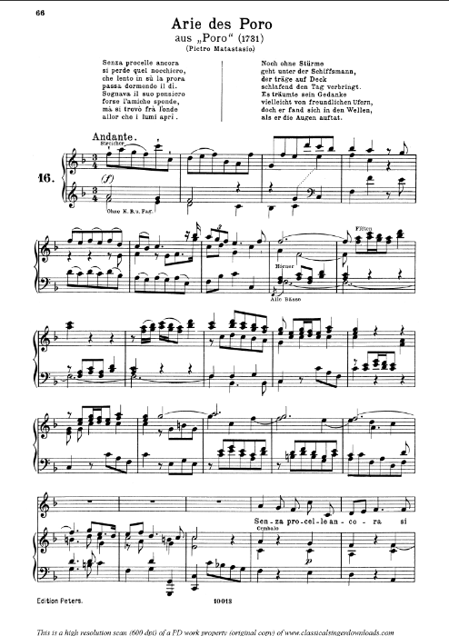 First Additional product image for - Senza procelle ancora: Contralto Aria (Poro) in F Major (original key). G.F.Haendel. Poro HWV 28, Vocal Score, Ed. Peters, Gesange für eine frauenstimme, Ed. H. Roth (1915). 6pp. Italian. (A4 portrait)