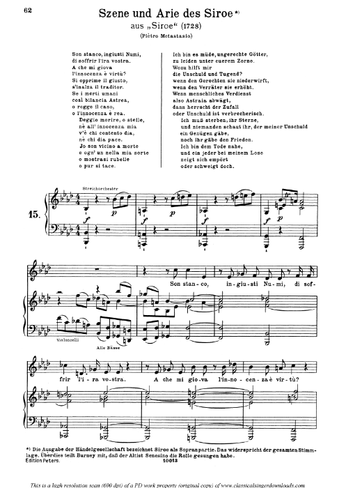 First Additional product image for - Son stanco, ingiusti numi: Contralto Aria (Siroe) in F minor (original key). G.F.Haendel. Siroe HWV 24, Vocal Score, Ed. Peters, Gesange für eine frauenstimme, Ed. H. Roth (1915). 4pp. Italian. (A4 portrait)