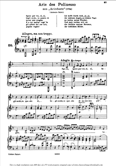 First Additional product image for - Spero per voi: Contralto Aria (Polinesso) in F minor (original key). G.F.Haendel. Ariodante HWV 15, Vocal Score, Ed. Peters, Gesange für eine frauenstimme, Ed. H. Roth (1915). 4pp. Italian. (A4 portrait)