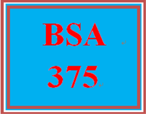 BSA 375 Entire Course | eBooks | Education