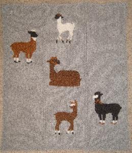 grazing alpacas blanket-hand knitting pdf pattern