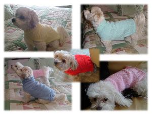 bundle 3 lacey dog sweaters-hand knitting pdf pattern