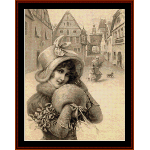Woman with Muff - Vintage Christmas cross stitch pattern by Cross Stitch Collectibles   Crafting   Cross-Stitch   Wall Hangings