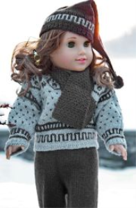 dollknittingpattern  0053d anders - sweater, scarf, pant, sport socks and hat-(english)