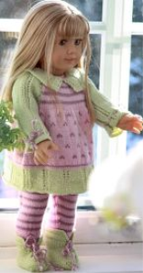 dollknittingpattern 0054d leonora - dress, leggings, shoes and hat-(english)