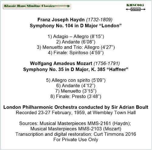 "First Additional product image for - Haydn: Sym. No. 104 ""London""; Mozart: Sym. No. 35 ""Haffner"" - London Philharmonic Orchestra/Sir Adrian Boult"