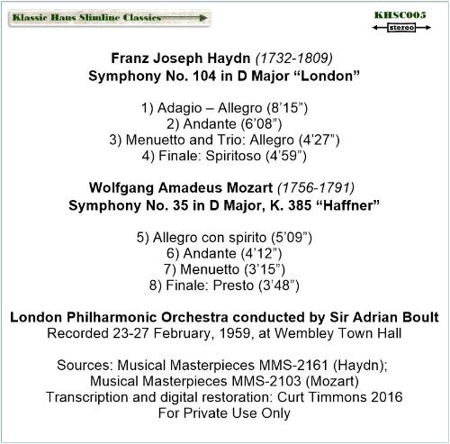 "First Additional product image for - Haydn: Sym. No. 104 ""London""; Mozart: Sym. No. 35 ""Haffner"" - London Philharmonic Orchestra/Sir Adrian Boult"