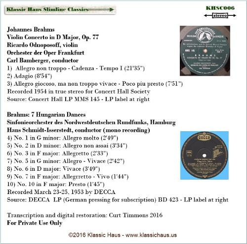 First Additional product image for - Brahms: Violin Concerto, Op. 77 - Ricardo Odnoposoff, violin; Orchester der Oper Frankfurt - Karl Bamberger; 7 Hungarian Dances - Sinfonieorchester des Nordwestdeutschen Rundfunks Hamburg - Hans Schmidt-Isserstedt