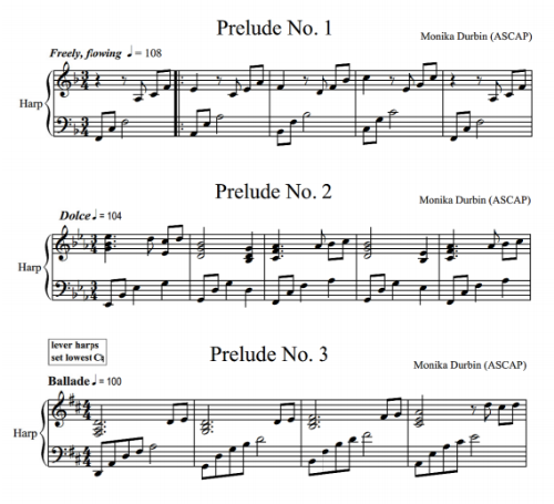 First Additional product image for - Five Preludes for Solo Harp